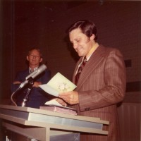 Chairman of Deacons at MBBC presenting Ron with a car in 1972