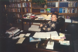 Ron working in his study at home